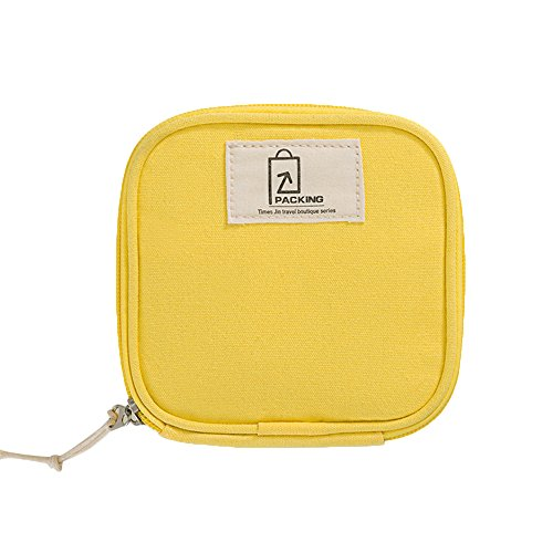 Zhenxinmei Portable Makeup Bag Multi-Function Storage Bag Small Lipstick Make-up Bag Jewellery Data Line Sanitary Napkin Pouch Case Organizer Kits Travel Candy Bags Fresh Cotton Handbag (Yellow)
