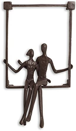 Danya B. ZI15214 Hanging Metal Wall Art Iron Sculpture – Couple Sitting on a Window Sill