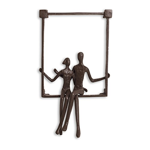 Danya B. ZI15214 Hanging Metal Wall Art Iron Sculpture - Couple Sitting on a Window Sill ()