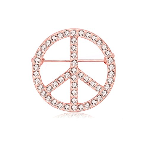 MANZHEN Silver Clear Crystal Peace Symbol Sign Brooch Pin(Rose Gold)