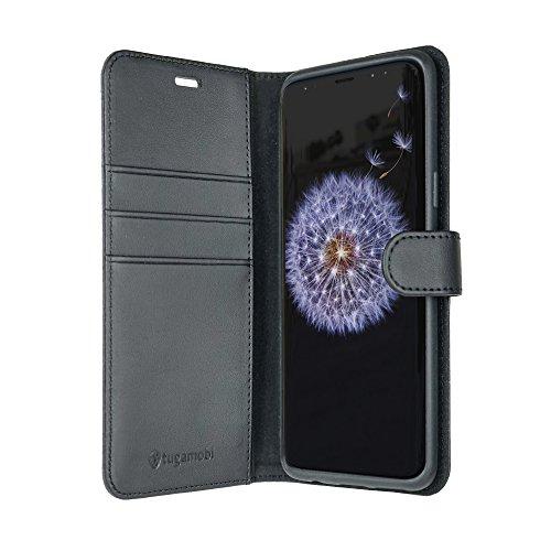 tugamobi Samsung Galaxy S9+ (S9 Plus) Leather Flip/Wallet [ID/Cash Slot] Case (Black)