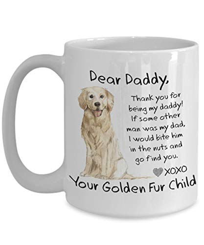 Golden Retriever Gifts Dog Dad Coffee Mug Sweet Funny Dear Daddy Mug Christmas Gift from Dog for Father Golden Retriever Dog Dads (Best Dear Abby Letters)