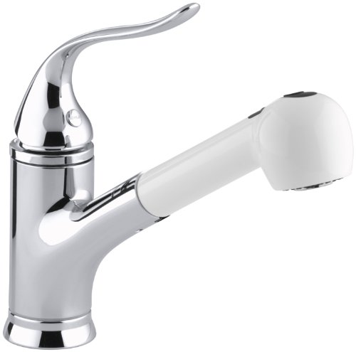 Coralais Volume Control (KOHLER K-15160-AP-CP Coralais Single Control Pullout Spray Kitchen Sink Faucet, Polished Chrome and White)