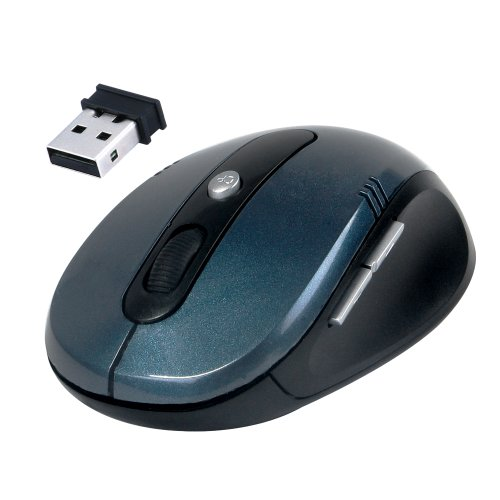 Daffodil WMS330 - Kabellose optische Maus - 5 Tasten-Funkmaus mit Scrollrad - verstellbare Abtastrate (bis zu 1600 DPI) - Daumentasten um Internetseiten vor- und zurückzublättern - Schwarz/Blau - Kompatibel mit: Microsoft Windows (8 / 7 / XP / Vista) und Apple MAC (OS X +) - wireless - keine Treiber notwendig