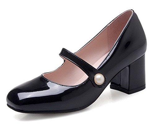 VogueZone009 Tacco Ballet Nero di Puro Flats Punta Pelle Quedrata Donna Medio Maiale rtZWrPqzHS
