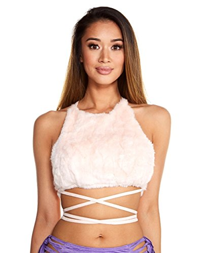Out Of Your Closet Halloween Costume Ideas (iHeartRaves Fur Wrap Around Halter Top (Small, Pink))