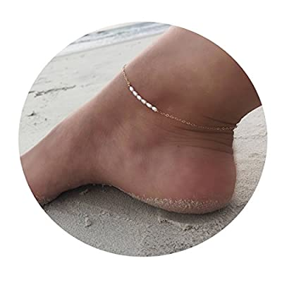 Mevecco Freshwater Pearl Anklet Handmade 18k Gold Plated Dainty Boho Beach Cute Ankle Bracelet Adjustable Wafer Layered Turquoises Dangle Coins Foot Chain for Women
