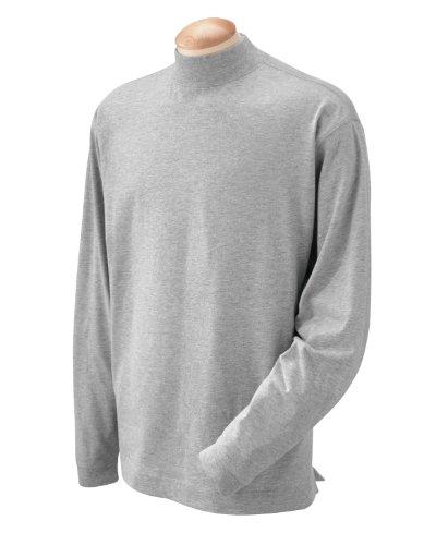 Devon & Jones Mens Sueded Cotton Jersey Phoney Turtleneck (D420) -GREY HEATH -XL