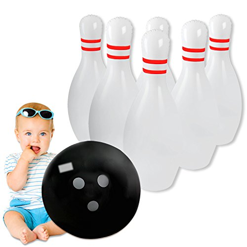 Novelty Place Giant Inflatable Bowling Set for Kids & Adults, One 18 Inches Ball with Six 24 Inches (Jumbo Inflatable)