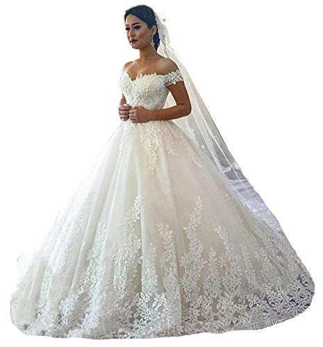 Fanciest Women's Lace Wedding Dresses for Bride 2019 Ball Gowns White US10