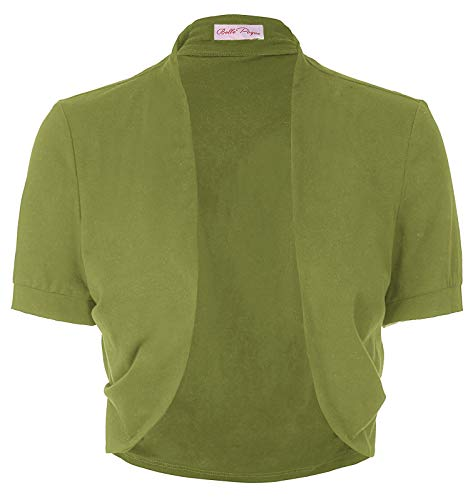 Womens Cotton Shrug Open Front Crop Bolero(S,Olive Green)