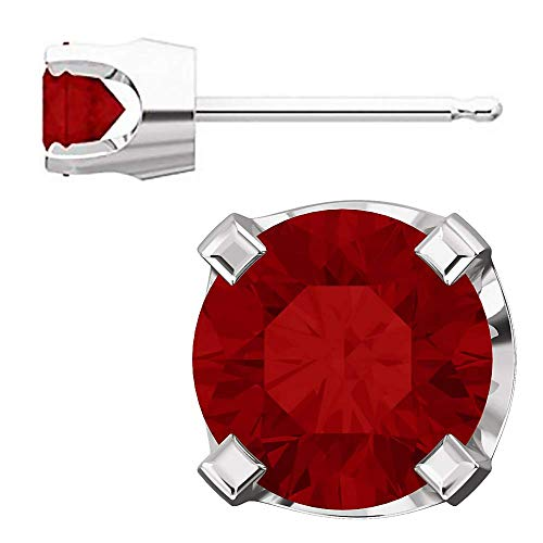 Trustmark White Gold 4mm Chatham Created Ruby Stud Earrings