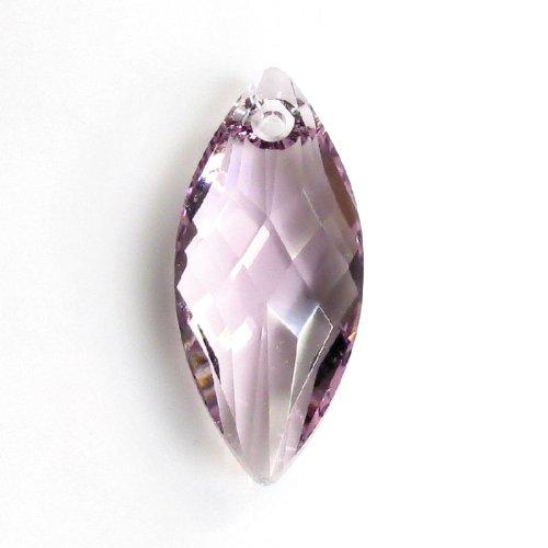 - 1pc Swarovski Crystal 6110 Navette Light Amethyst Charm Pendant Bead 30mm / Findings / Crystallized Element