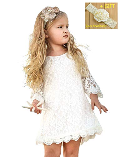 (Qzrnly Girl Lace Dress Kids Ruffles Flower Party Wedding Bridesmaid Dresses White )