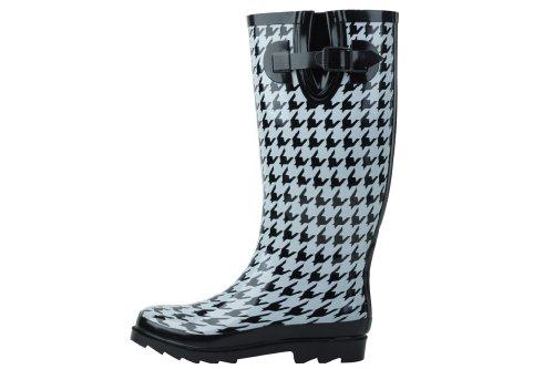 Sunville Brand Women's Rubber Rain Boots,9,Houndstooth