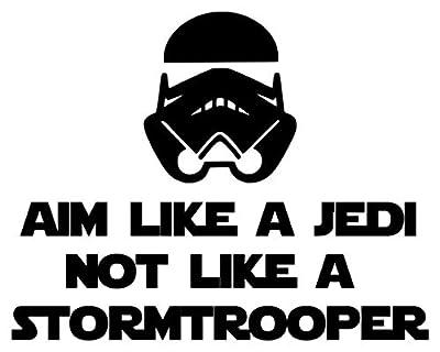 "Minglewood Trading Aim Like a Jedi not a Stormtrooper BLACK custom vinyl decal sticker 7"" x 5.5"" Toilet Sign"