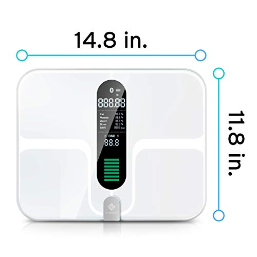 Etekcity Smart Bluetooth Body Fat Scale – Digital Bathroom Weight Scale with 12 Essential Measurements, Large Platform and Clear LCD Display, ITO Conductive Glass, FDA Approved, 400lb 180kg