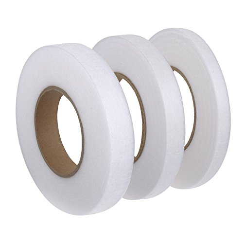 Miraclekoo 71 Yards No Sew Hemming Tape Fabric Fusing Tape Hem Iron-on Adhesive 4/5 Inch, 3/5 Inch, 1/2 Inch,3 Pieces ()