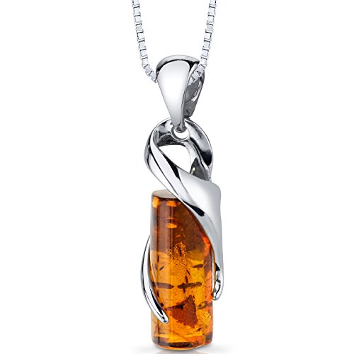 Baltic Amber Cylindrical Pendant Necklace Sterling Silver Cognac Color ()