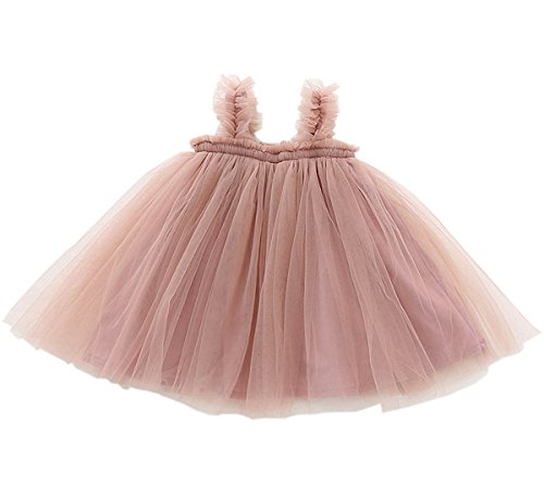 LYXIOF Baby Girls Tutu Dresses Sleeveless Princess Dress Infant Tulle Dress Toddler Sundress Pink 12 Months ()