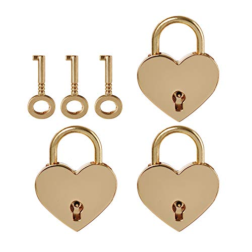LIMEIJIA 3 Piece Rose Gold Mini Heart Locks Padlock and Key Suitable for Valentine