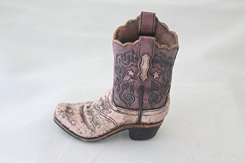 Western Rustic Texas Cowgirl Hand Tooled Leather Hand Painted Boot Vase Pencil Holder (Purple/Pink)