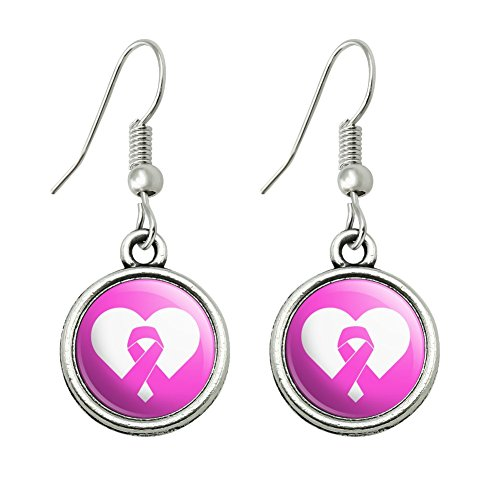 Breast Cancer Awareness Pink Ribbon in Heart Novelty Dangling Drop Charm Earrings