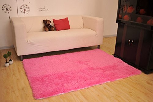 Living Room Rug, CWKTITI Super Soft Indoor Modern Shag Area Rugs Bedroom Rug for Children Play Solid Home Decorator Floor Rug and Carpets 4- Feet By 5- Feet, Hot Pink