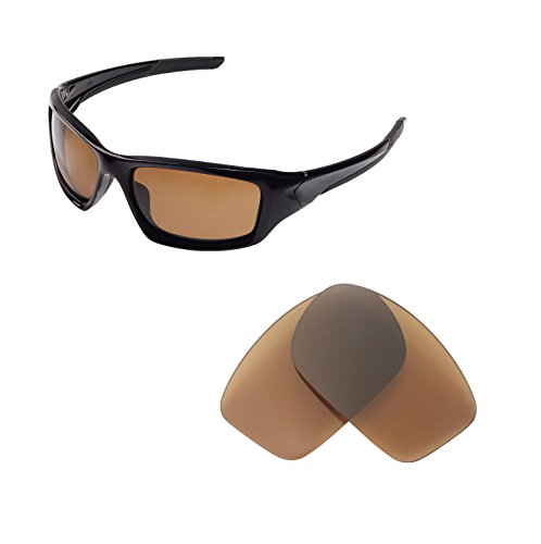 Walleva Replacement Lenses for Oakley New Valve(2014&After) Sunglasses - Multiple Options Available (Brown - Polarized) ()