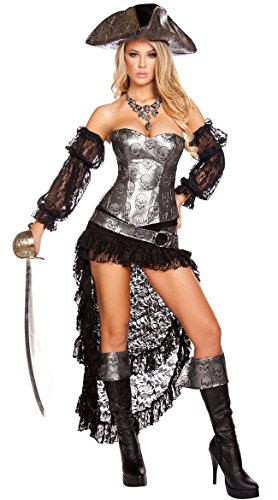 Roma Costume Women's 4 Piece Deadly Pirate Captain, Grey/Black, Medium