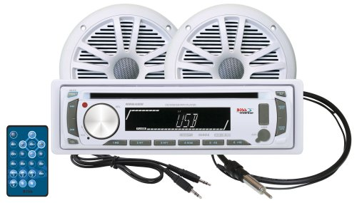 BOSS AUDIO MCK648W.6 Marine  Package Includes MR648UA Single-DIN Marine AM/FM CD Receiver; One Pair of 6.5 inch Marine MR6W Speakers, MRANT10 Marine Antenna, 35AC Aux Cable (Marine Stereo System Package compare prices)