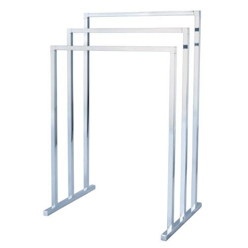 - Kingston Brass SCC8281 Pedestal 3-Tier Steel Construction Towel Rack, Polished Chrome