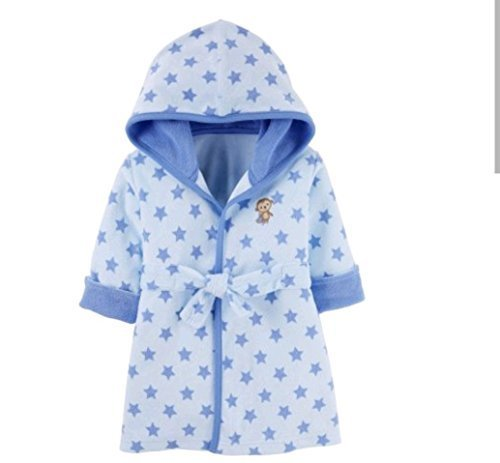 Carters Terry Robe - Carter's Child of Mine Baby Hooded Soft Terry Cloth Robe, (One size, Blue Polka Dot Monkey)