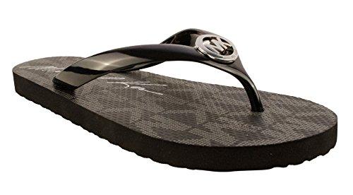 Michael Kors Jet Set Rubber Flip Flops Black Size 7 MK Womens