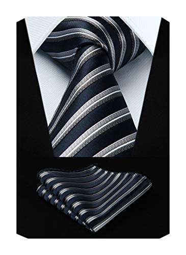 (HISDERN College Striped Tie Handkerchief Woven Classic Stripe Men's Necktie & Pocket Square Set (Navy Blue & Silver))