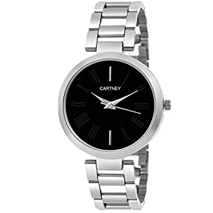Cartney Analog Stainless Steel Black Dial Women & Girl's Watch (CY1093)