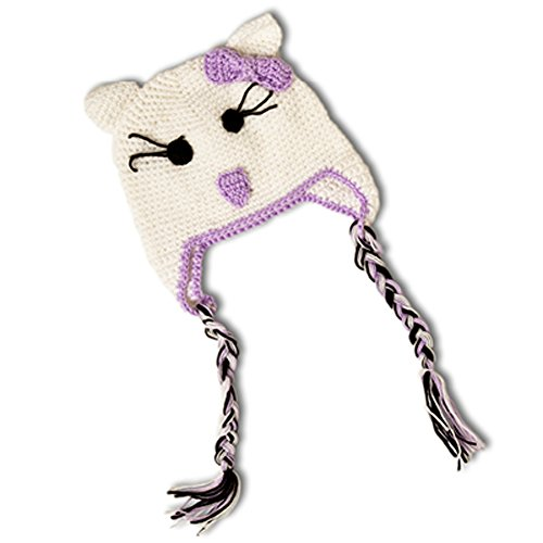 Kitty Cami (Little Girls Crochet Kitty Beanie Hat (White and Purple))