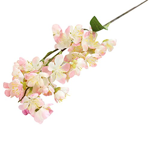 ations for Wedding Or Parties, Artificial Fake Flowers Leaf Cherry Blossoms Floral Wedding Bouquet Party Decor (Pink) ()