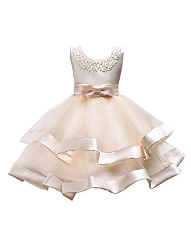 Little Girl Formal Dress 7 8 T Elegeant Easter Special Occasion Party Dress 9 Years Old Sleeveless Short Ball Gowns Fancy for Children KneeLength Champagne Tutu Dress for Girl Size 8 (Champagne 32)