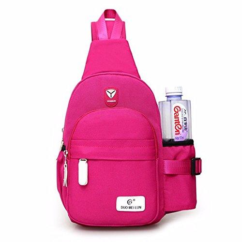 Women Nylon Large Capacity Daily Crossbody Bag Waterproof Durable Chest Bag Shoulder Bag (Rose Red