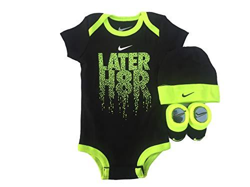 NIKE Infant Babys 3-Piece Bodysuit, Hat & Booties Set (0-6 Months, ()