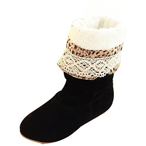 Enmayer Damesschoenen Met Hoge Hak Pu-materiaal, Wiggen Warme Schoenen Voor Dames Winterlaarzen Black1 Met Bont