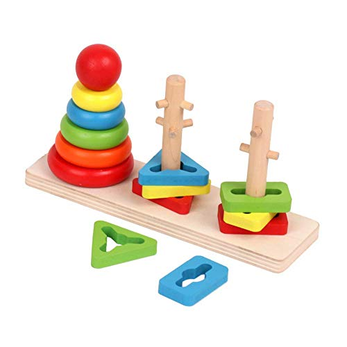 Afunti Wooden Educational Ring Stacker Toy for Babies Rainbow Tower Wooden Shape Color Recognition Geometric Board Blocks Stacking Stack Sort Chunky for Baby and Toddlers ()