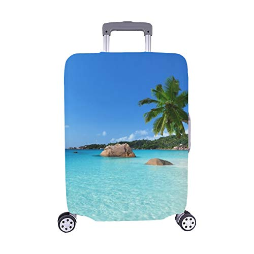 Anse Lazio Beach Praslin Island Seychelles Spandex Trolley Case Travel Luggage Protector Suitcase Cover 28.5 X 20.5 Inch (Tropic Top Lycra)