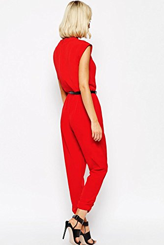 Damen Rot Gürtel Wrap vorne Overall Catsuit Clubwear Kleidung Größe L UK 12EU 40