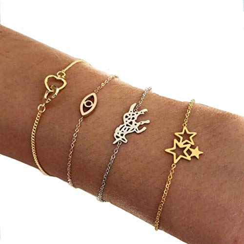 Fashion personality five-pointed star heart and heart unicorn electroplating mixed color set of 4 sets of hand jewelry ()