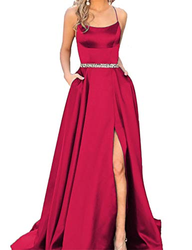 Fanciest Women's Halter Slit Satin Prom Dresses Long Backless Evening Formal Gowns Hot Pink with Beaded US2