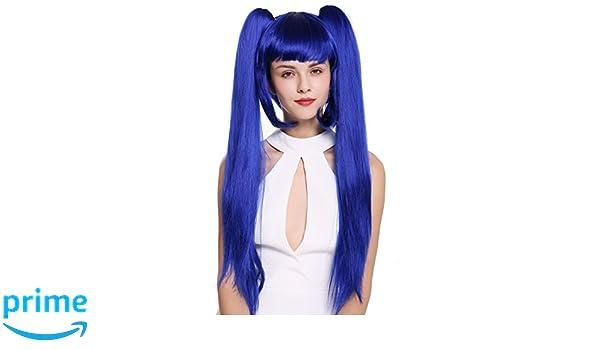 WIG ME UP ® - ZM-1708-SK22F Peluca mujer Cosplay trenzas largas extraíbles azul: Amazon.es: Belleza