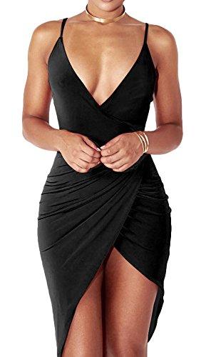 Women's Sexy Clubwear Split Open Front Black Dresses Sleeveless Slim-fit Dress (Open Front Mini Dress)