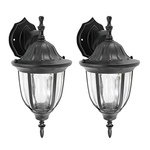 IN HOME One-Light Outdoor Wall Down Lantern, Exterior Light Fixtures with One E26 Base, Wet Rated, Black Matte Finish Cast Aluminum Housing with Clear Glass Shade, ETL Listed, Twin Pack